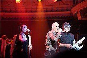 The Human League - At Paradiso, Netherlands in April 2011 – from left to right Joanne Catherall, Phil Oakey, and Neil Sutton
