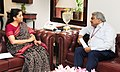 The Indian Ambassador to Italy, Shri Anil Wadhwa meeting the Minister of State for Commerce & Industry (Independent Charge), Smt. Nirmala Sitharaman, in New Delhi on May 04, 2017.jpg