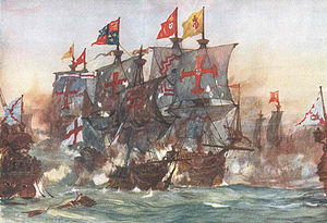 Battle of Flores (1591) - Image: The Last fight of the Revenge off Flores in the Azores 1591 by Charles Dixon
