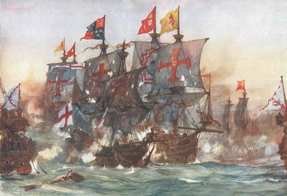 The Last fight of the Revenge off Flores in the Azores 1591 by Charles Dixon