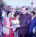 The Lok Sabha speaker Shri. Manohar Joshi is being received by the Union Minister for Parliamentary Affairs.jpg