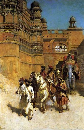 Gwalior - The Maharahaj of Gwalior Before His Palace c. 1887