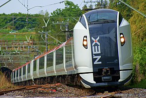 The Narita Express train running a natural woodland.JPG