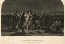 Washington and group of approximately ten officers and Indians in council, standing at night around a lamp, at nearby Fort Necessity