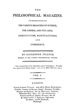 The Philosophical Magazine - 1st Series - Volume 1 - 1798 - Titlepage.png