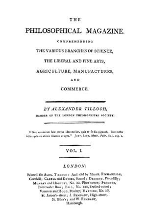 Philosophical Magazine - Titlepage of the first issue