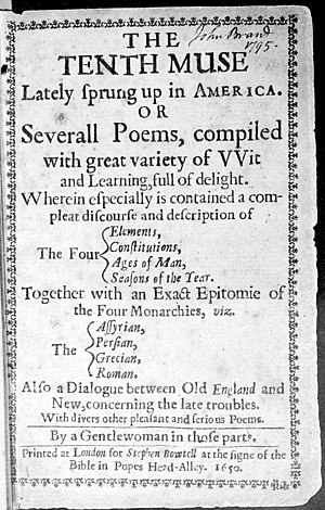 Anne Bradstreet - Title page, The Tenth Muse Lately Sprung Up in America, printed at London, 1650