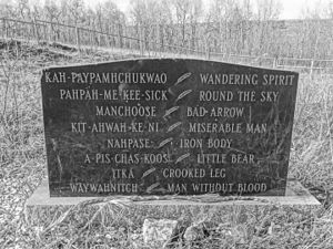 North-West Rebellion - Grave of the Battleford Eight in Battleford marking the largest mass hanging in Canada, November 27, 1885, in the wake of the rebellion.
