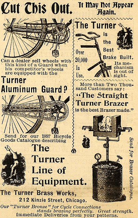1897 American advertisement featuring the aluminum spelling The Turner Brass Works ad 1897.jpg