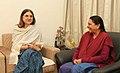 The Union Minister for Women and Child Development, Smt. Maneka Sanjay Gandhi meeting the Chief Minister of Gujarat, Smt. Anandiben Patel, in New Delhi on December 20, 2014.jpg