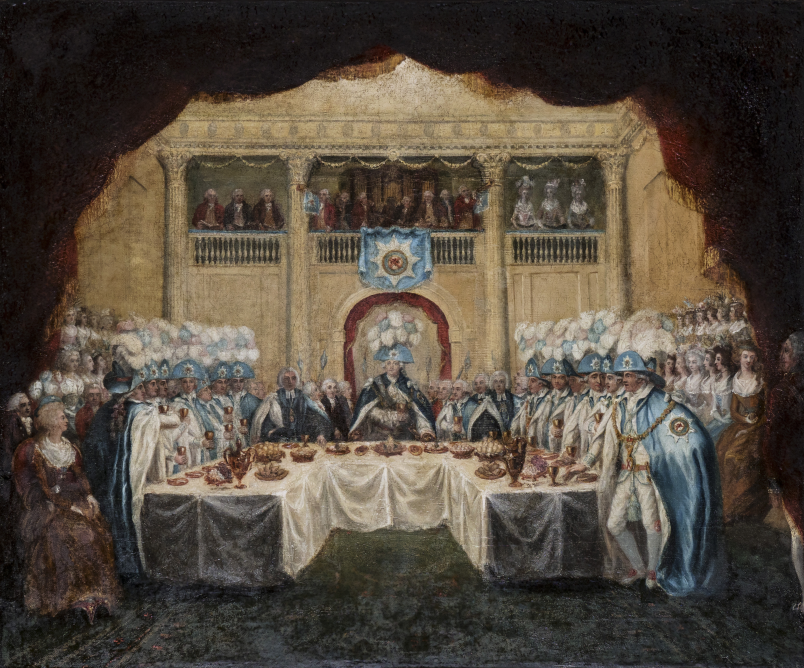 The installation banquet of the Knights of St Patrick in St. Patrick's Hall, Dublin Castle 1783