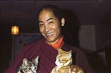 a smiling Tibetan monk holding two cats