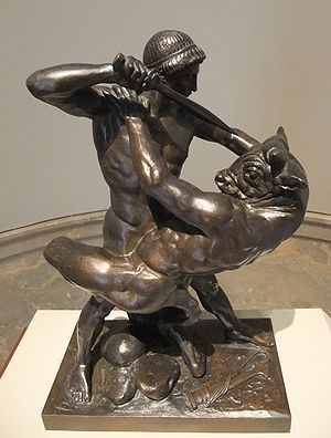 Theseus - Theseus Slaying Minotaur (1843), bronze sculpture by Antoine-Louis Barye