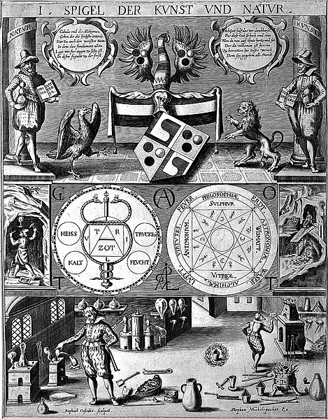 File:Three-tiered symbolic diagram of the art of alchemy; top lev Wellcome L0004315.jpg
