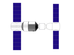 Drawing of Tiangong-1 (left) docked to Shenzhou (right)