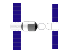 Shenzhou 8 (rechts) angedockt an Tiangong1 (links)