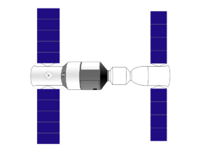 Tiangong-1 - Diagram of Tiangong-1 (left) docked to a Shenzhou spacecraft (right).