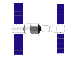 Diagram of Tiangong-1 (left) docked to a Shenzhou spacecraft (right). Tiangong 1 drawing.png