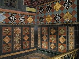 Jackfield Tile Museum - Sample encaustic tiles on display