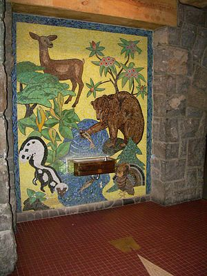Mosaic inside entrance adorning drinking fount...