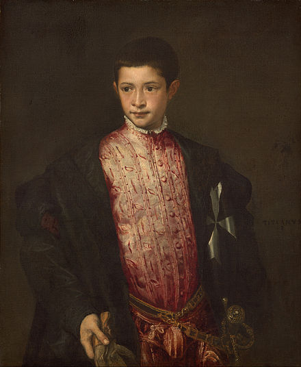Ranuccio Farnese was made cardinal by Paul III at the age of 15. Titian - Ranuccio Farnese - Google Art Project.jpg