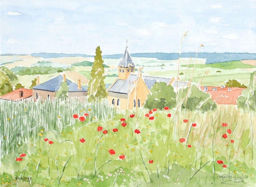 Torgny (Belgique), le village vu depuis la rue d'Epiez.