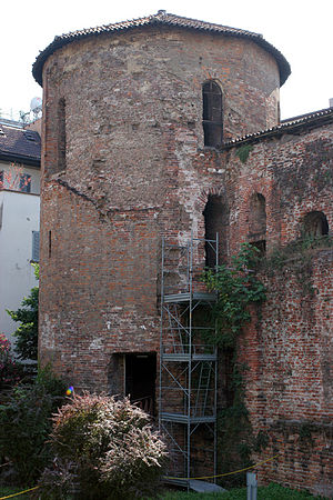 Walls of Milan - The Maximian tower in the courtyard of the Archaeological Museum of Milan