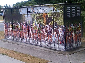 Delta, British Columbia - Tour de Delta wall cover on electrical box outside of Delta, British Columbia municipal hall