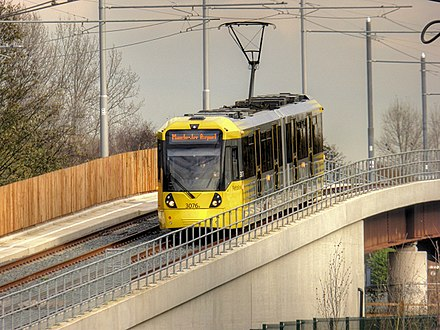 Phase 3 extended Metrolink to Manchester Airport and introduced a new fleet of M5000 trams Tram Across the Mersey, David Dixon, 4237015.jpg