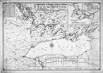 Trent–Severn Waterway - A map of the Trent-Severn Waterway as it appeared in 1918, just prior to its completion. The planned route still runs through Honey Harbour when this was prepared. The abandoned Newmarket Canal is can be seen at the southern tip of Lake Simcoe.