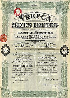 Trepča Mines - The contract formed between the British Selection Trust and the Trepča mines