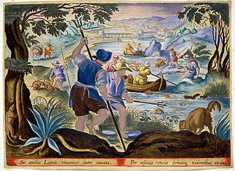 History of fishing - Dutch fishermen using tridents in the 17th century