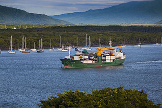 Sea Swift - Sea Swift's MV Trinity Bay steaming towards the Torres Strait out of Cairns' Trinity Inlet.
