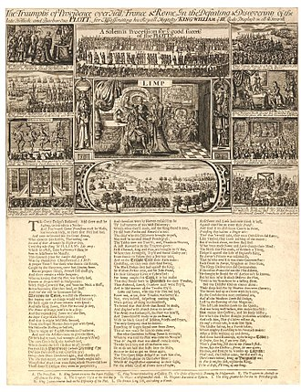 Jacobite assassination plot 1696 - The Triumphs of Providence, 1696 broadsheet celebrating William III's escape from assassination