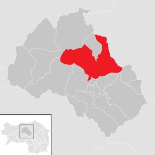 Lage der Gemeinde Trofaiach im Bezirk Leoben (anklickbare Karte)