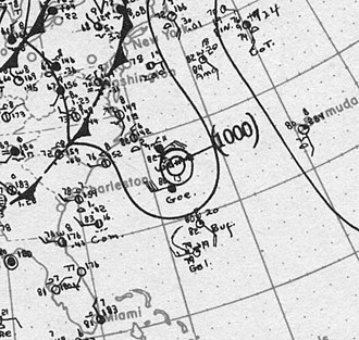 1917 Atlantic hurricane season - Image: Tropical Storm Two surface analysis 9 Aug 1917