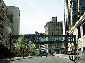 Trump Plaza (New Rochelle) - Pedestrian bridge connecting Trump Plaza to New Roc City