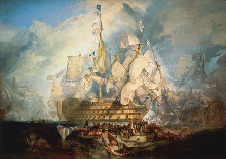 "The Battle of Trafalgar by J. M. W. Turner (oil on canvas, 1822-1824) shows the last three letters of the signal, ""England expects that every man will do his duty"" flying from Victory Turner, The Battle of Trafalgar (1822).jpg"