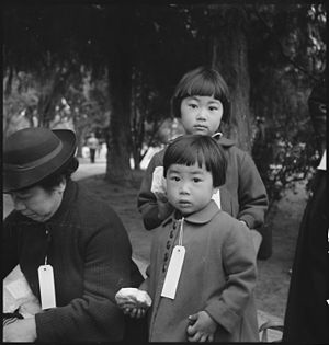 War Relocation Authority - Hayward, California, May 8, 1942. Two children of the Mochida family who, with their parents, are awaiting evacuation bus. The youngster on the right holds a sandwich given her by one of a group of women who were present from a local church. The family unit is kept intact during evacuation and at War Relocation Authority centers where evacuees of Japanese ancestry will be housed for the duration. (Photo by Dorothea Lange).