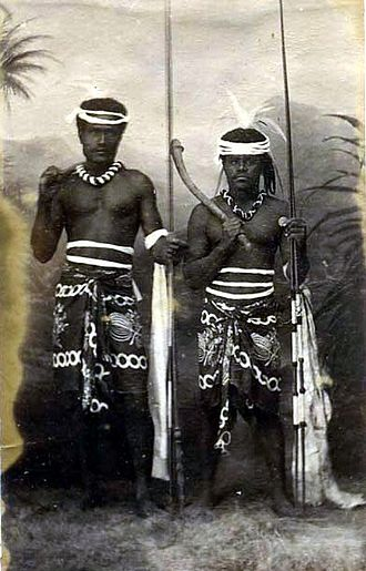 Kanak people - Image: Two Kanak (Canaque) warriors holding weapons, New Caledonia