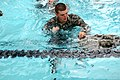 U.S. Army Pvt. 1st Class James Hall, an engineer from 336th Engineer Company, employs the splash method to fill his knotted Army Combat Uniform trousers with air, to create a makeshift flotation device 110806-A-AJ827-190.jpg