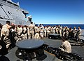 U.S. Marine Corps Col. Frank Donovan, the commanding officer of the 24th Marine Expeditionary Unit, speaks to his Marines and Sailors here April 8, 2012, aboard amphibious assault ship USS New York (LPD 21) 120408-M-KU932-005.jpg