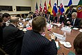 U.S. Secretary of Defense Chuck Hagel, right, meets with British Secretary of State for Defense Philip Hammond, seated, second from right, Canadian Minister of National Defense Peter MacKay, center foreground 130604-D-BW835-588.jpg
