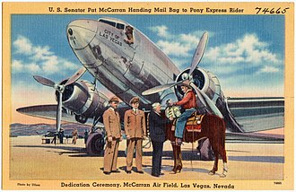 McCarran International Airport - Postcard depicting Senator McCarran at the original McCarran Field, 1941