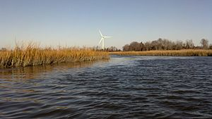 Lewes, Delaware - University of Delaware's wind turbine seen from Canary Creek