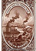 Stemma dello stato del South Dakota dal retro della serie di banconote della banca nazionale 1882BB