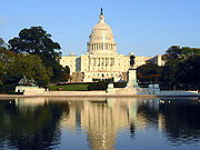 The west front of the United States Capitol, which houses the United States Congress