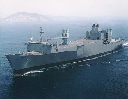 USNS Regulus (T-AKR-292) began its career as Sea-Land's SL-7 class container ship SS Sea-Land Commerce. - Container ship