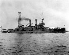 Photograph of USS Idaho with the aft cage mast installed.