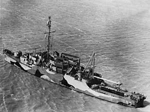 USS William M. Hobby (APD-95) off the Charleston Naval Shipyard on 19 April 1945 (NH 91590)